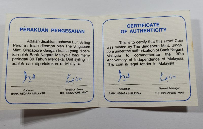 30th Anniversary Of Malaysia Independence Day 10 Ringgit Coin Certificate Unfolded