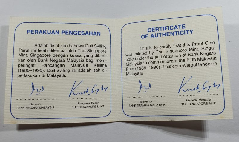 Fifth Malaysia Plan Coin Certificate Open
